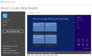 Bruce's nLabs Blog Reader on the Windows Store