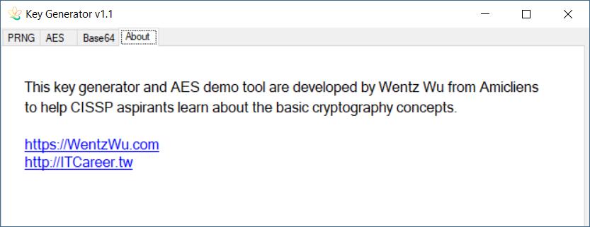 Key Generator and AES Demo Tool by Wentz Wu, CISSP/CISM/PMP