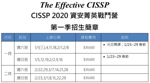 CISSP課程表_2020_Q1